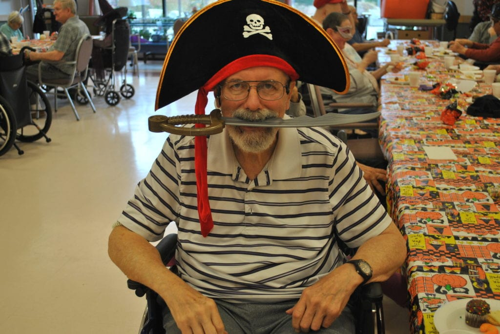 MVH Augusta resident dressed like a pirate for Halloween