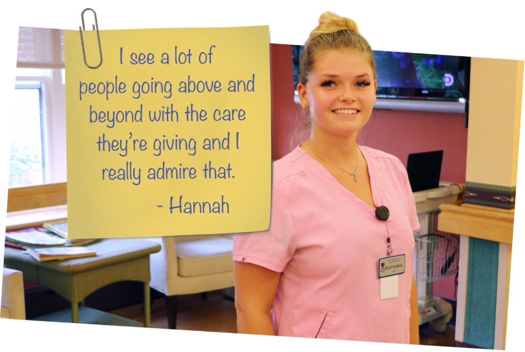 Staff member Hannah, with testimonial