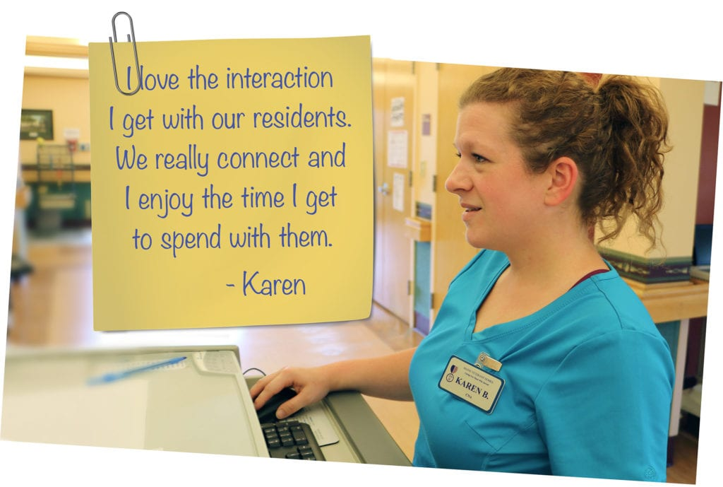 Graphic of Karen with employee testimonial