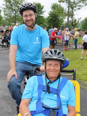 Maine Vets 5K staff and Veteran resident compete in wheelchair division