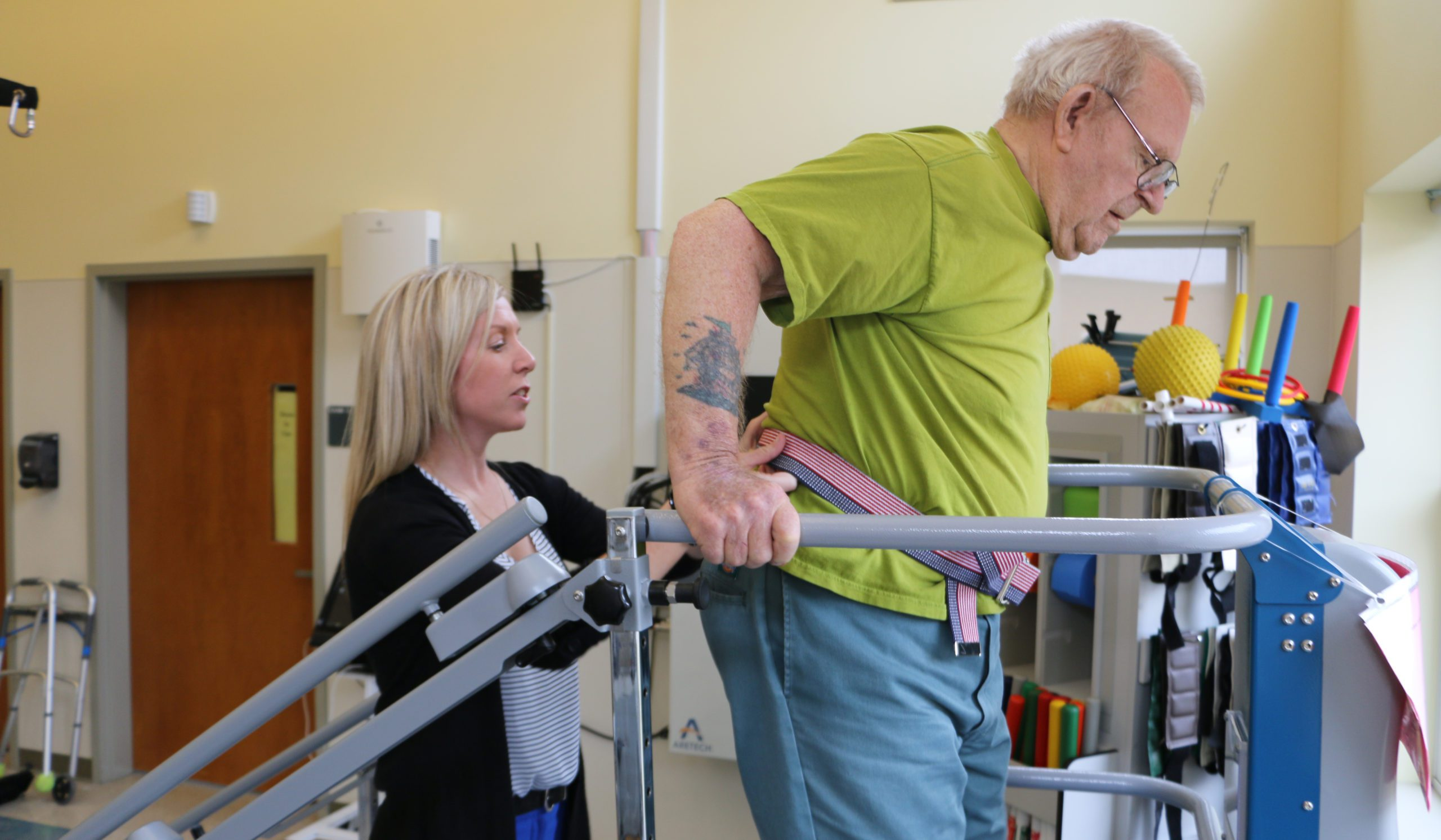 A client receives rehab/therapy at MVH Bangor with the help of a skilled staffer