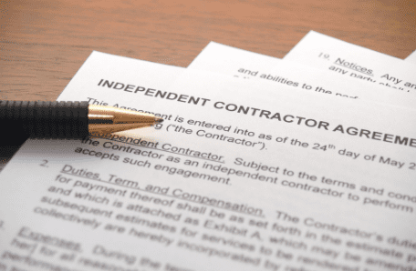 Picture of an independent contractor contract