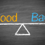 """Chalkboard illustration with the words """"good"""" and """"bad"""""""