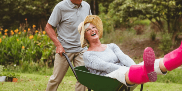 Senior couple gardening for health benefits