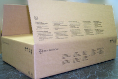 Cardboard box with Bayer HealthCare printing