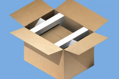 Cardboard box with inserts and smaller box inside