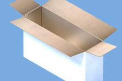 CAD drawing of white cardboard box