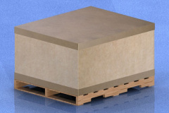 CAD drawing of cardboard box with lid on pallet