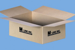 Cardboard box with M-Line logo