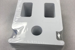 Custom box with specific shapes for parts