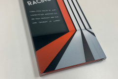 Custom printed packaging for Enduro Racing with grey and orange strips