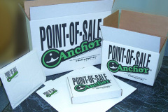 Custom cardboard boxes and envelopes with Point of Sale text