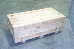 Custom wooden crate made of light-colored wood