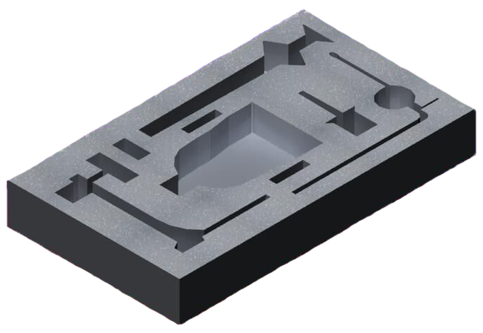 Custom foam tray with cutouts for parts